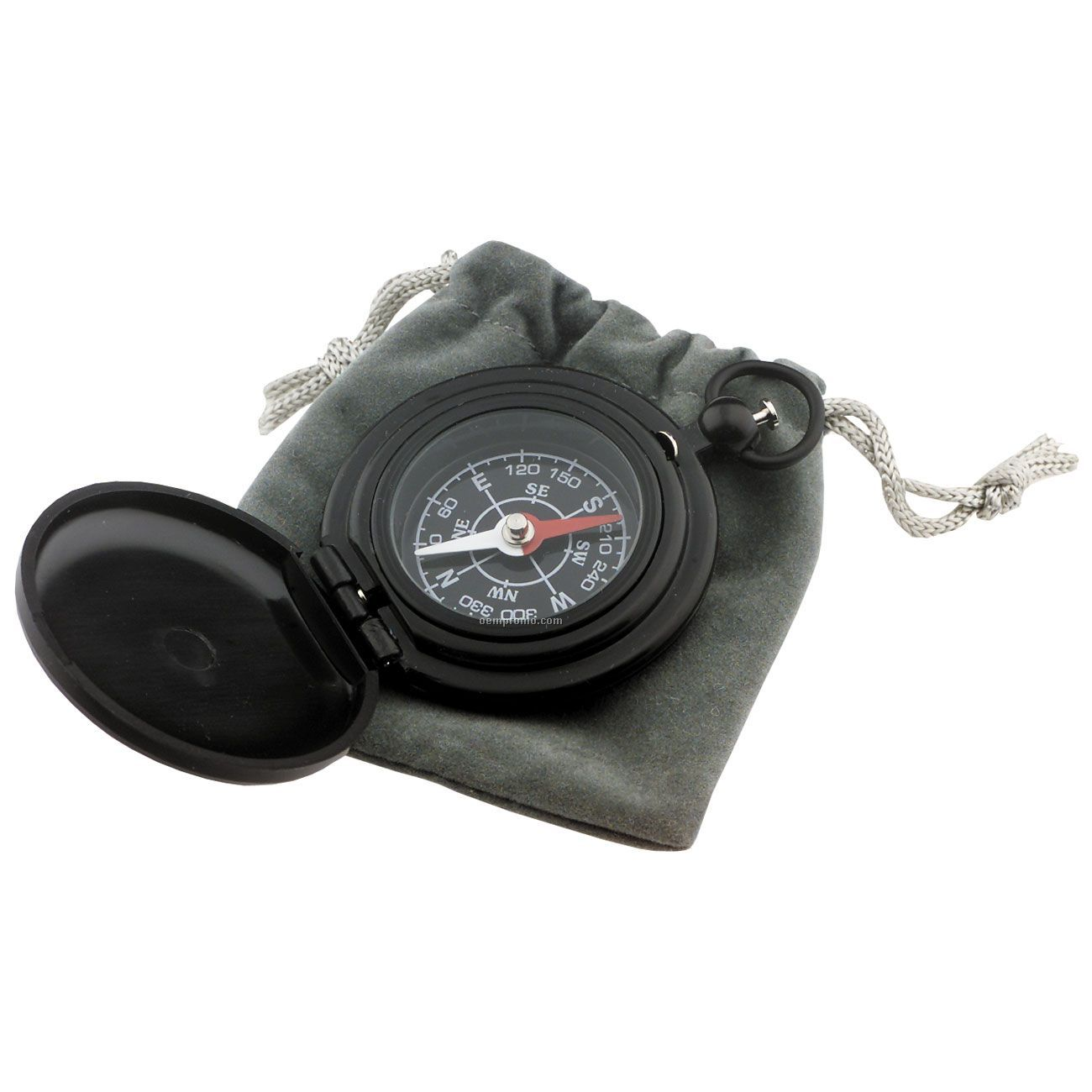Deluxe Pocket Compass W/ Drawstring Pouch