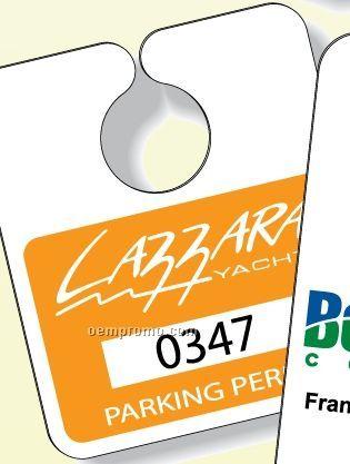"Screen Print White Gloss Plastic Parking Tag (3.13""X3.63"")"