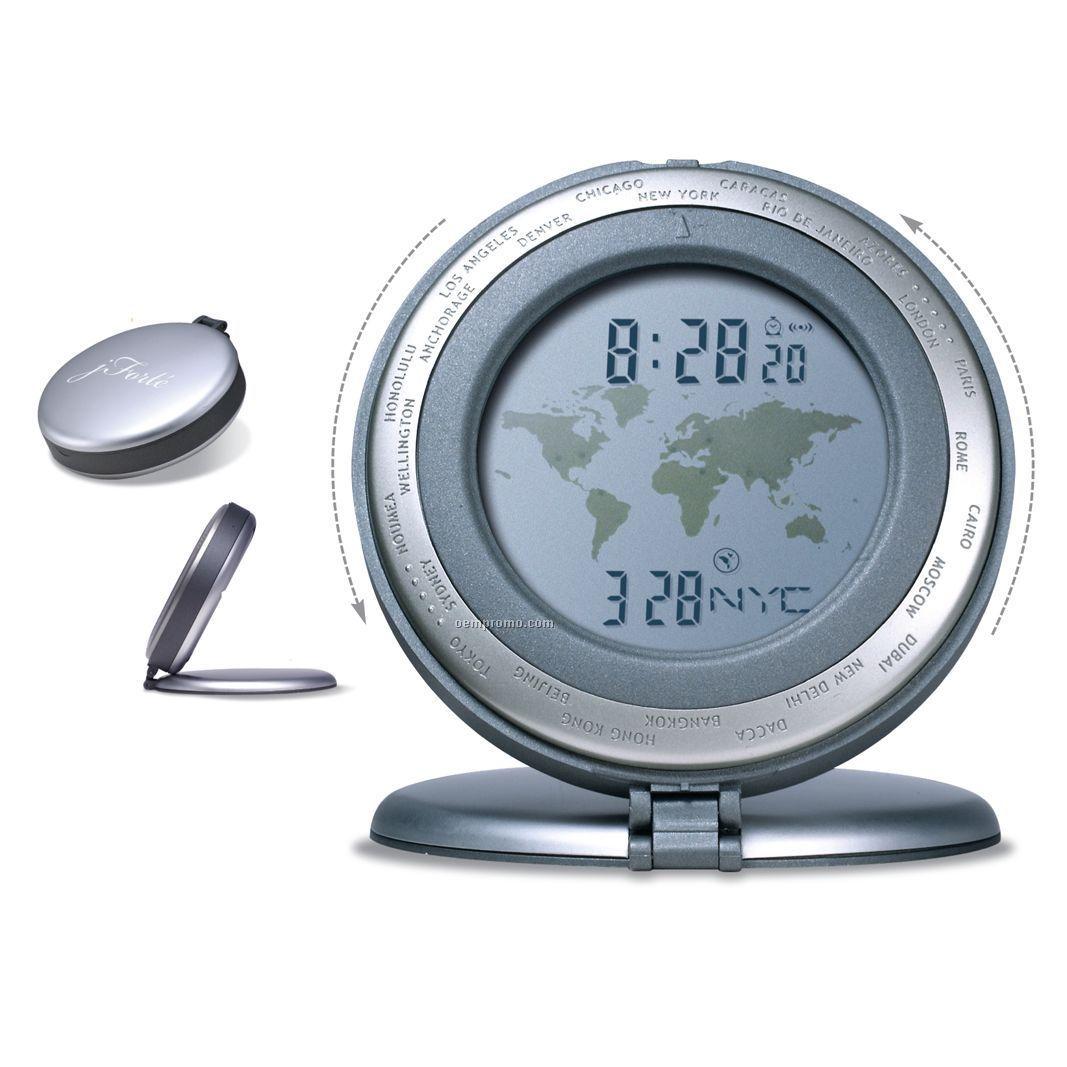 "World Time Travel Alarm Clock (3-1/8""X3/4"")"