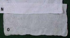 """13"""" Ladies White Handkerchief With Flower Vine Corner"""