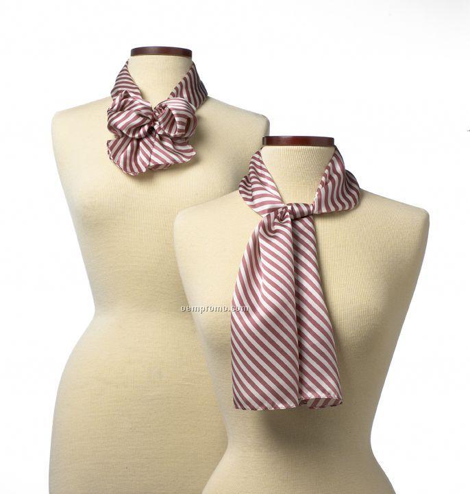 """Wolfmark Saville Stripe Silk Scarf - Pink (8"""" X 45"""")"""