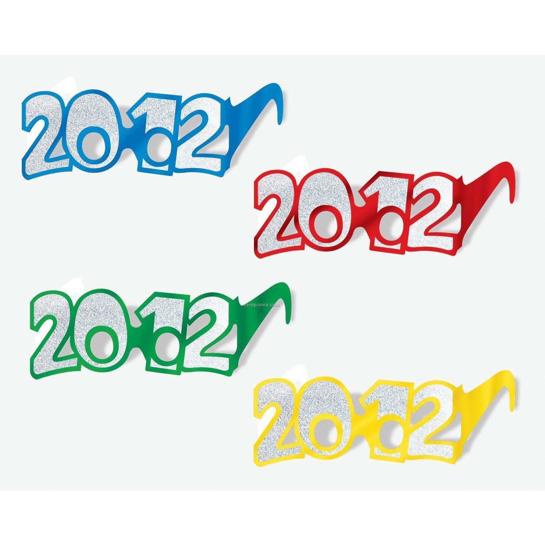 Year 2012 Glittered Foil Eyeglasses