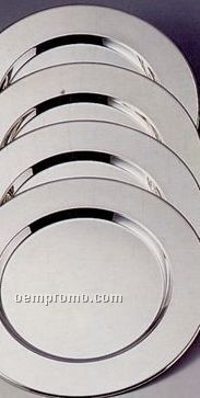 4 Piece Silver Plated Round Charger Plate Set