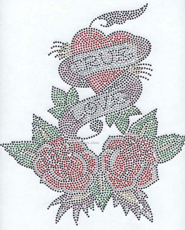True Love Heart And Flowers Rhinestone Transfer