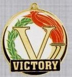 "2"" Color-filled Stock Medal - Victory"