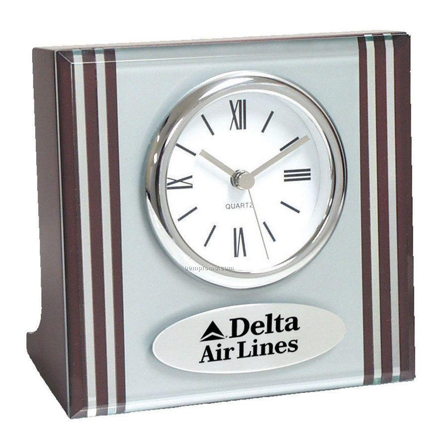 2 Tone Silver Glass Clock