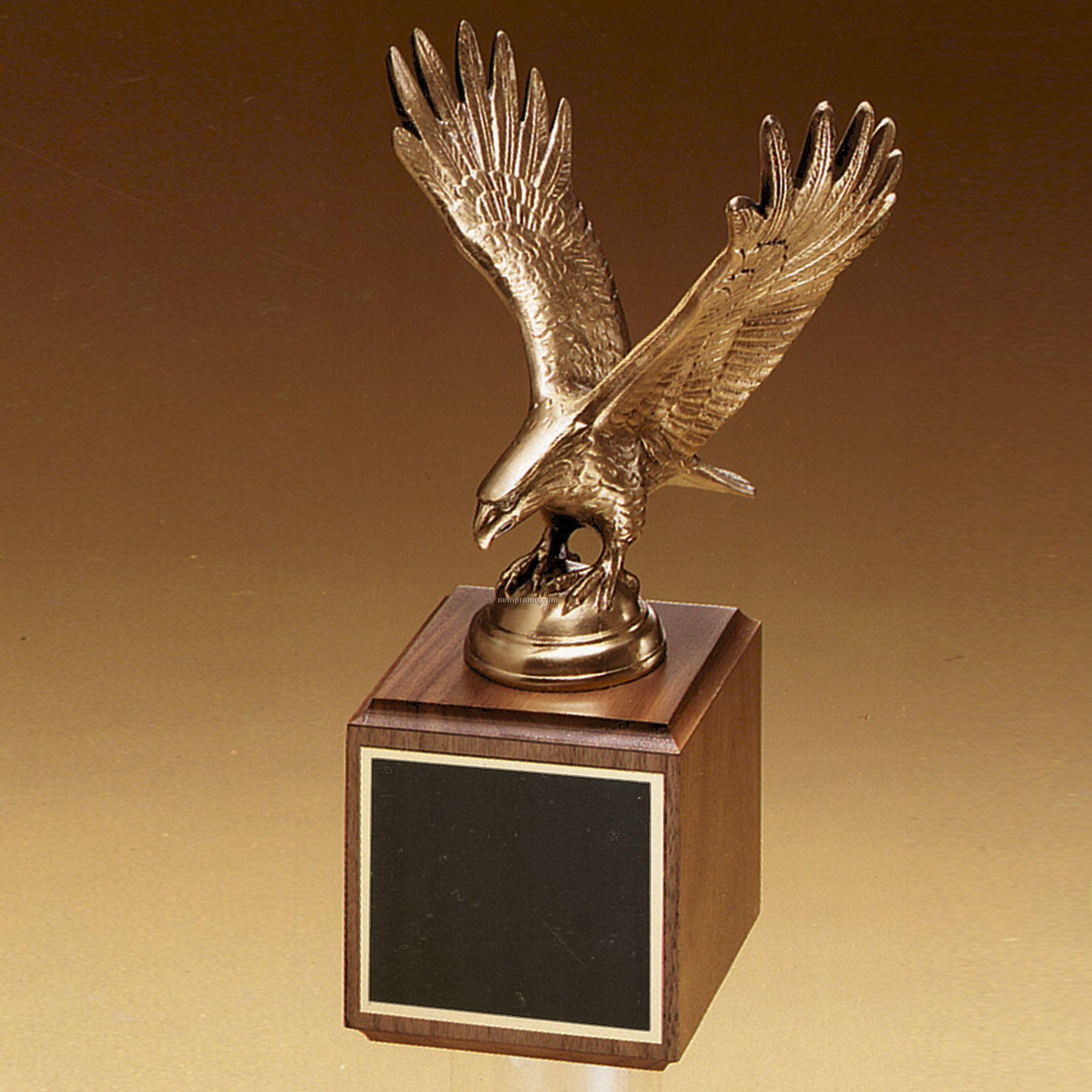 Fully Modeled Antique Bronze Casting W/Walnut Base