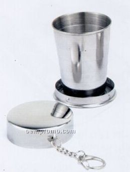 2 Oz. Stainless Steel Collapsible Folding Cup W/Key Chain