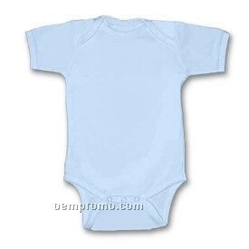 Blue Infant Short Sleeve 1 X 1 Rib Knit Onesie