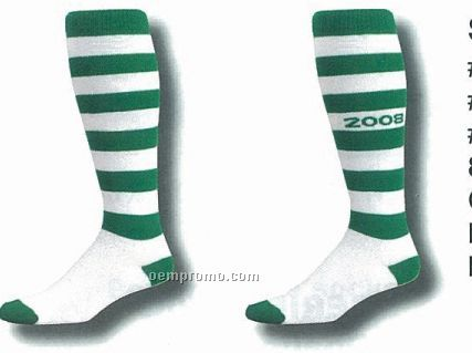 Striped Softball Socks W/ Cushioned Foot/ Lightweight Top (5-9 Small)