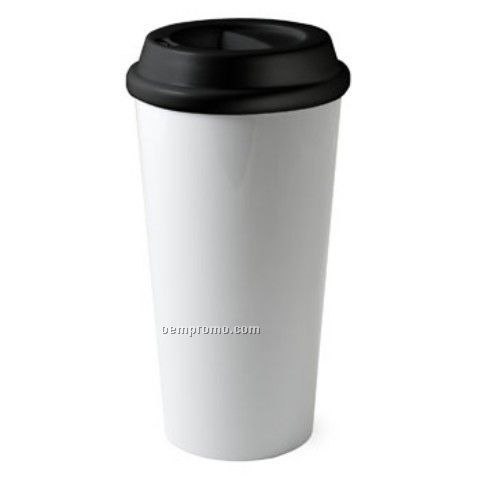 14 Oz. Double Wall Ceramic Metro Commuter Mug With Silicon Fitted Lid