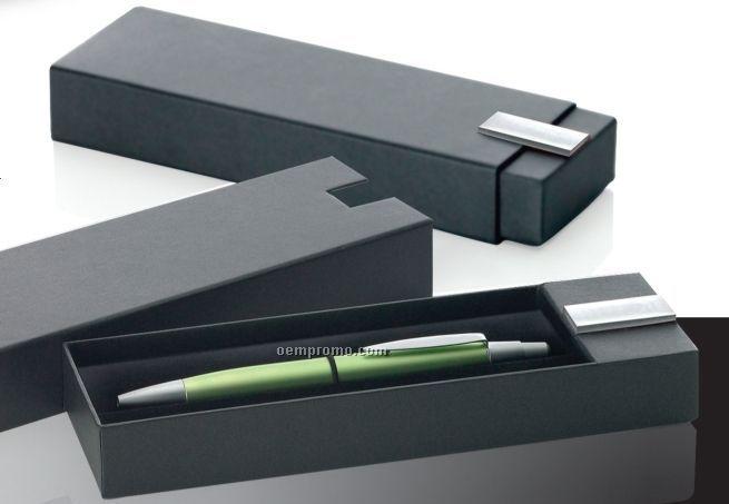 Slide Open Single Pen Box W/ Decorative Accent