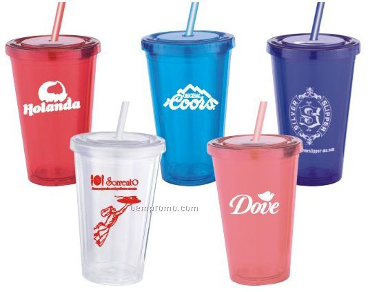 16 Oz. Acrylic Double Wall Drink Cup With Straw, Bpa Free