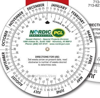 "Date Calculator Double Wheel - 4"" Diameter Base - (4 Color Front)"