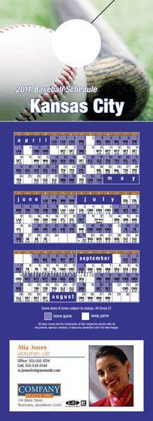 """Kansas City Pro Baseball Schedule Door Hanger (4"""" X 11"""")"""