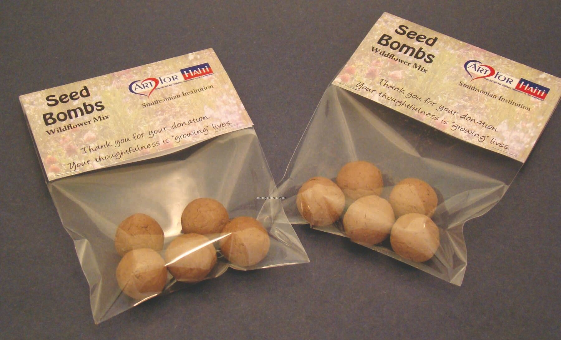 Wildflower Seed Bombs In Clear Poly Bag W/ Header Card (5 Pack)