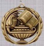 "2 3/8"" Stock Sculptured Medal - Book & Lamp"