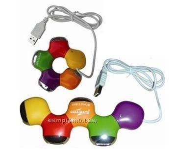 5 colors flower shape USB hub