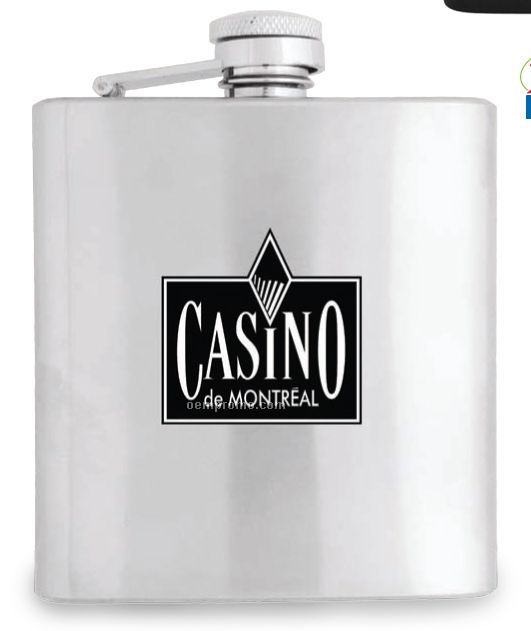 6 Oz. Stainless Steel Flask W/ Pouch (15-20 Day Service)