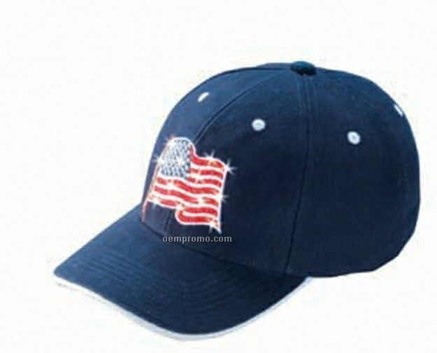 Constructed Brushed Cotton Low Profile Cap W/ Flashing Usa Flag (Wavy)