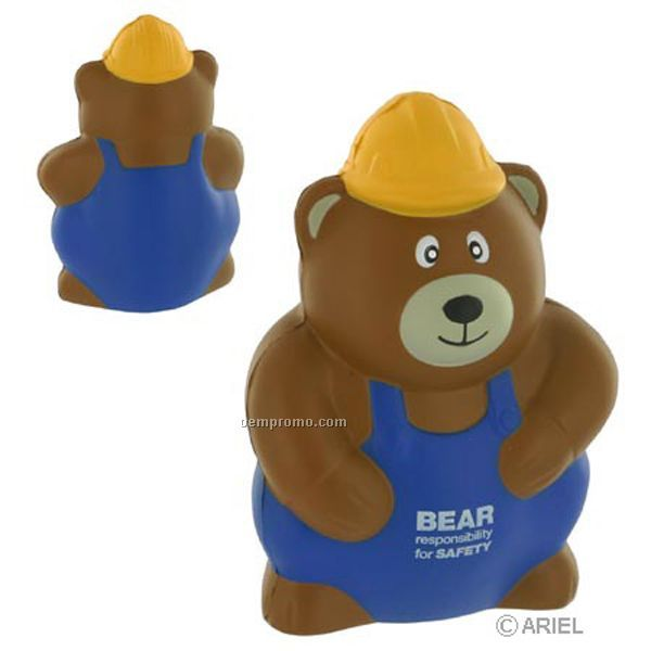 Construction Worker Bear Squeeze Toy