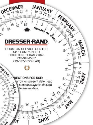 """Large Date Calculator Double Wheel - 6"""" Diameter Base - (4 Color Front)"""