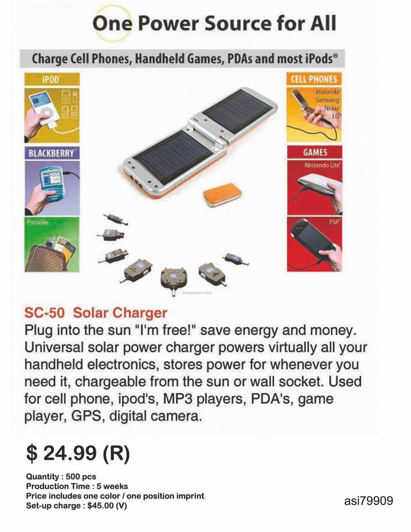 Solar Charger For Iphone, Ipod, Blackberry And Android Phones