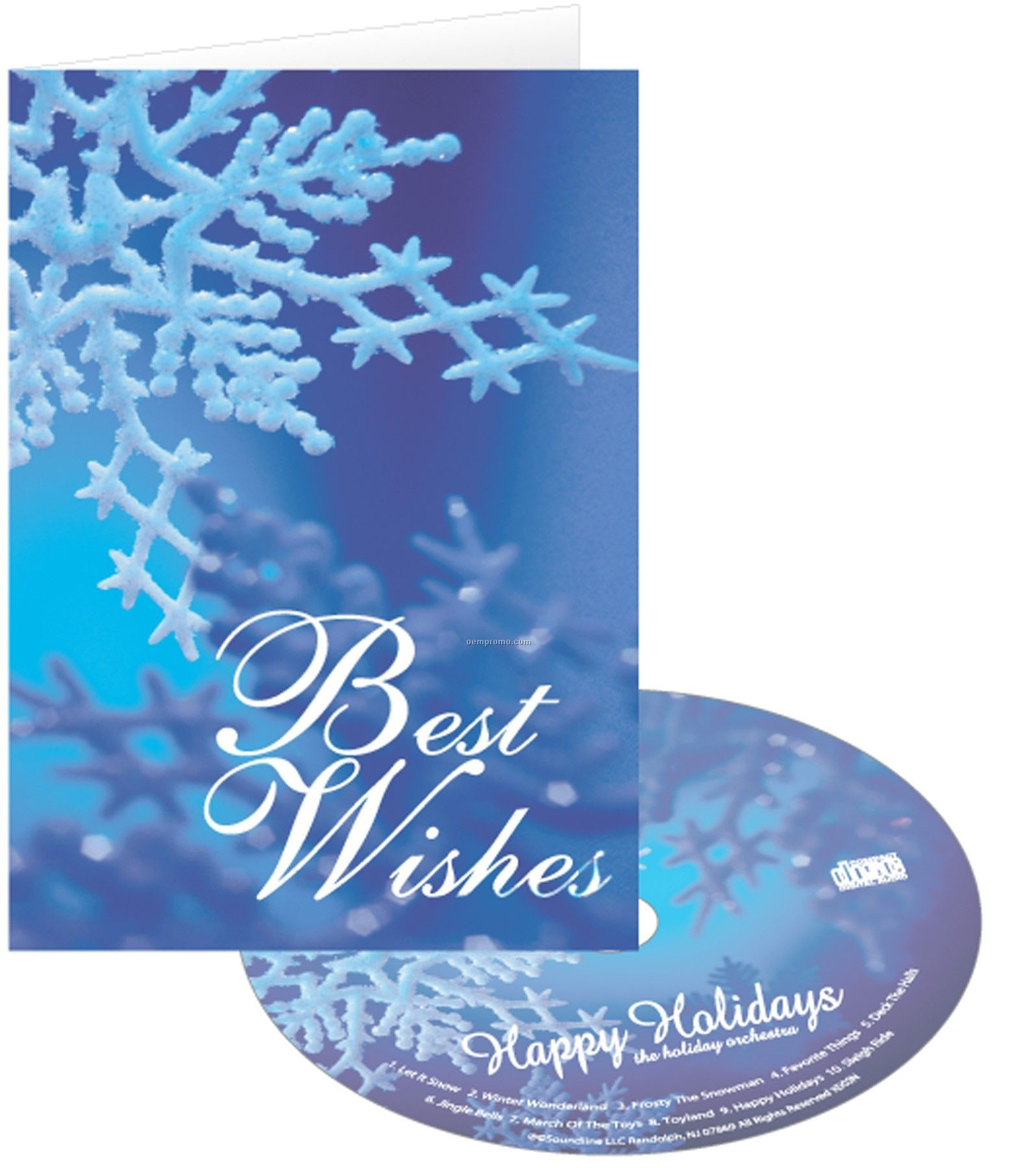 Blue snowflake best wishes holiday greeting card with matching cd blue snowflake best wishes holiday greeting card with matching cd m4hsunfo
