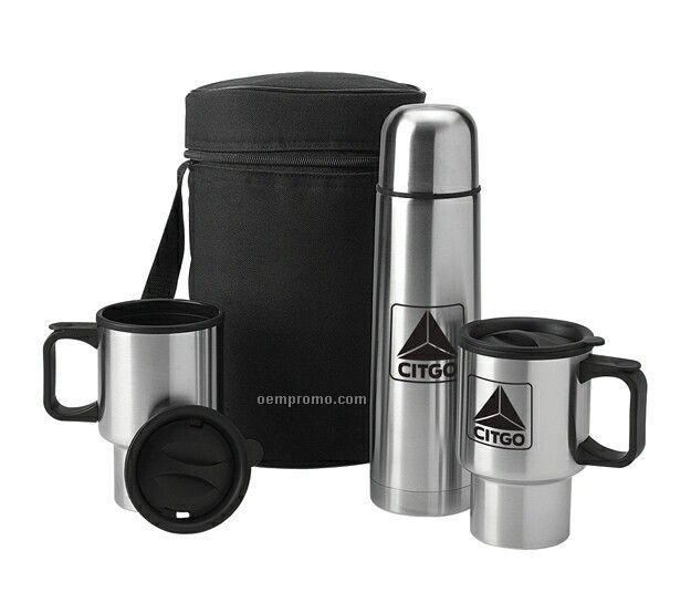 Value plus stainless thermos mugs travel kit - Travel mug stainless steel interior ...