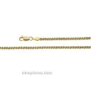 "Ladies' 7"" 14ky 2-1/2mm Double Wheat Chain Bracelet"