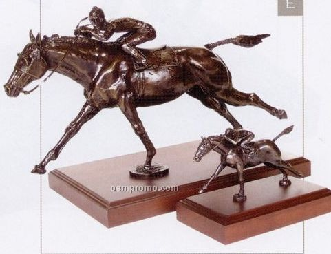 "Seabiscuit Finish Line Sculpture - Jockey On Horse (13.25"")"