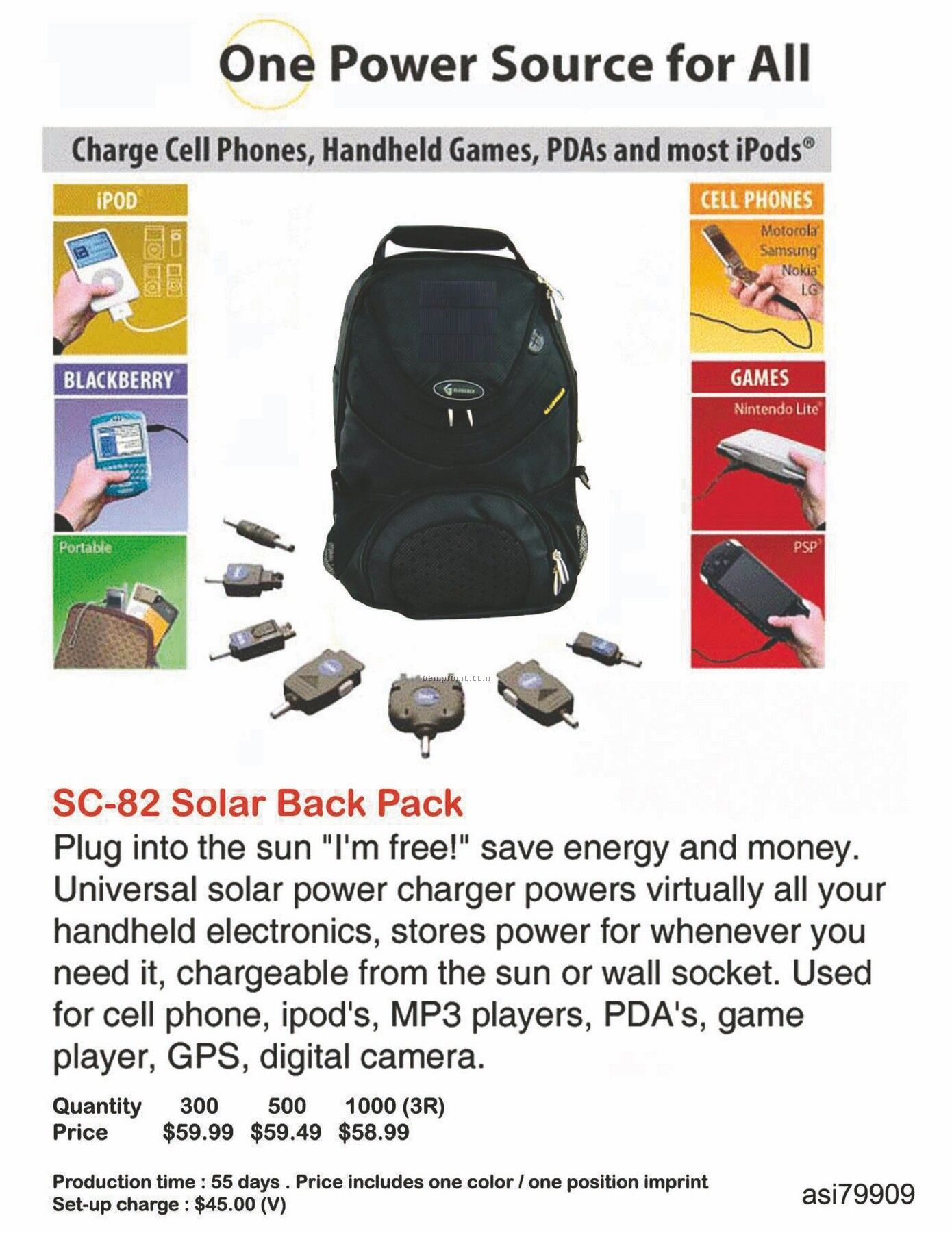 Universal Solar Charger / Backpack For Iphone, Ipod, Blackberry, Android