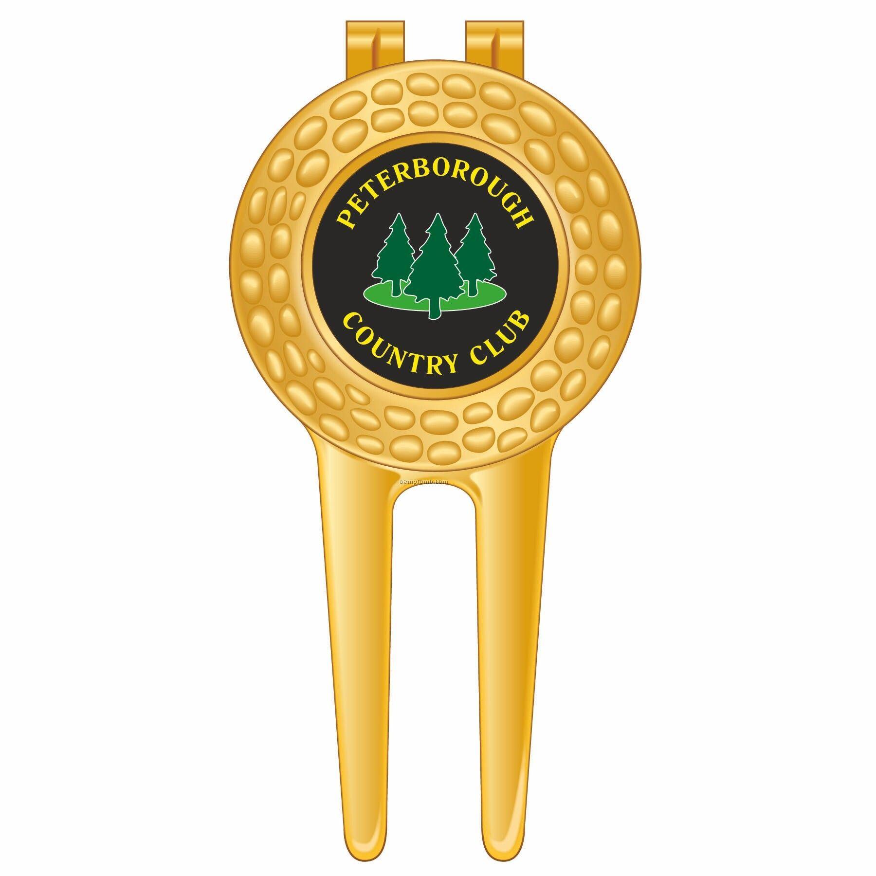 Gold Metal Golf Divot Tool & Ball Marker