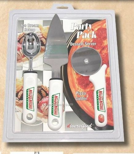 Party Pack With Pizza Cutter/ Dessert Server & Ice Cream Scoop