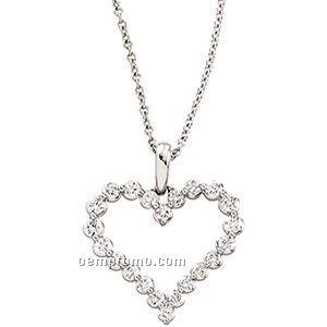 14kw 1 Ct Tw Diamond Heart Necklace