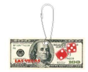 Las Vegas Dice $100 Bill Zipper Pull