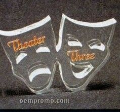 Acrylic Paperweight Up To 20 Square Inches / Drama Masks/ Thespian Masks