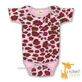 Infant Short Sleeve Cotton Onesie ( Leopard Print)