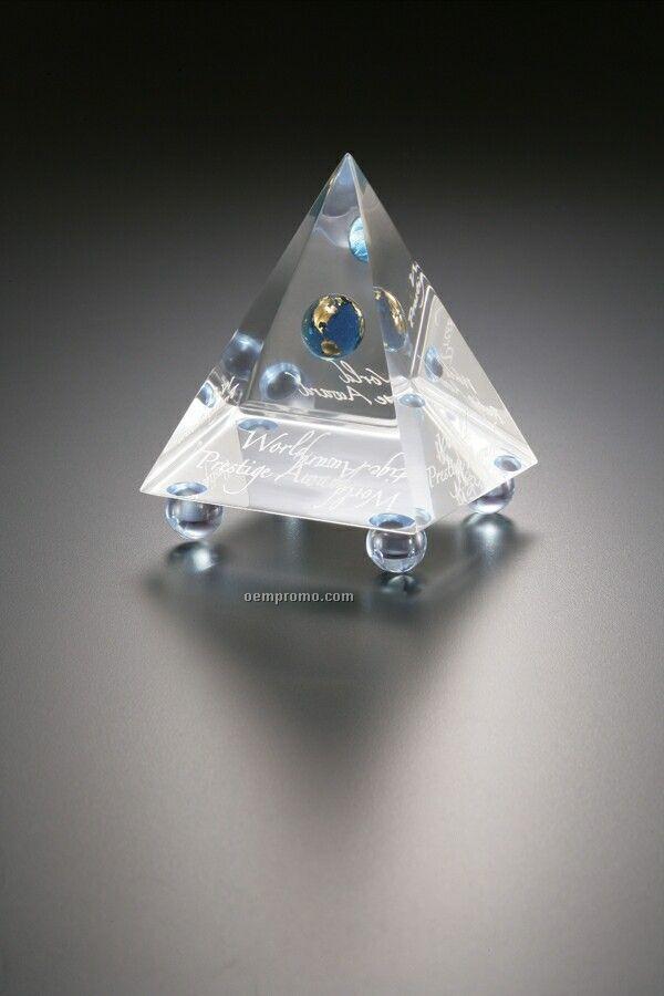 Lucite Embedment Pyramid Award W/ 4 Bottom Feet