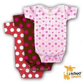 Infant Short Sleeve Cotton Onesie (Polka Dots)