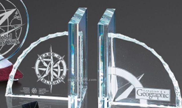 "6""X6"" Starfire Book Ends Award (1 Pair)"