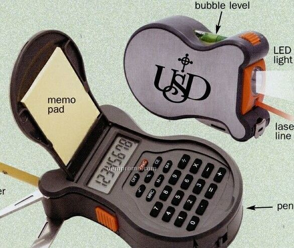 9-in-1 Tool With Level/ Flashlight/ Laser Line/ Calculator/ Tape Measure