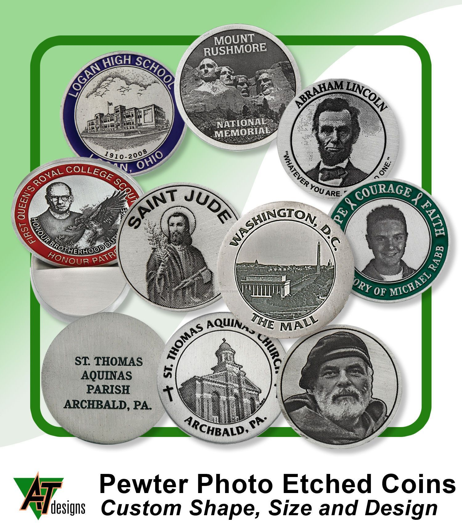 """Natural Pewter Coin (1-3/4"""")"""