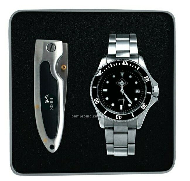 The Out Doors Man Stainless Steel Watch & Pocket Knife Gift Set