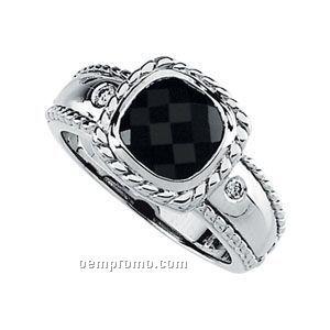 14kw Genuine Onyx And .05 Ct Tw Diamond Ring