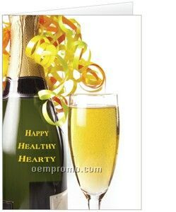happy healthy hearty new year greeting card