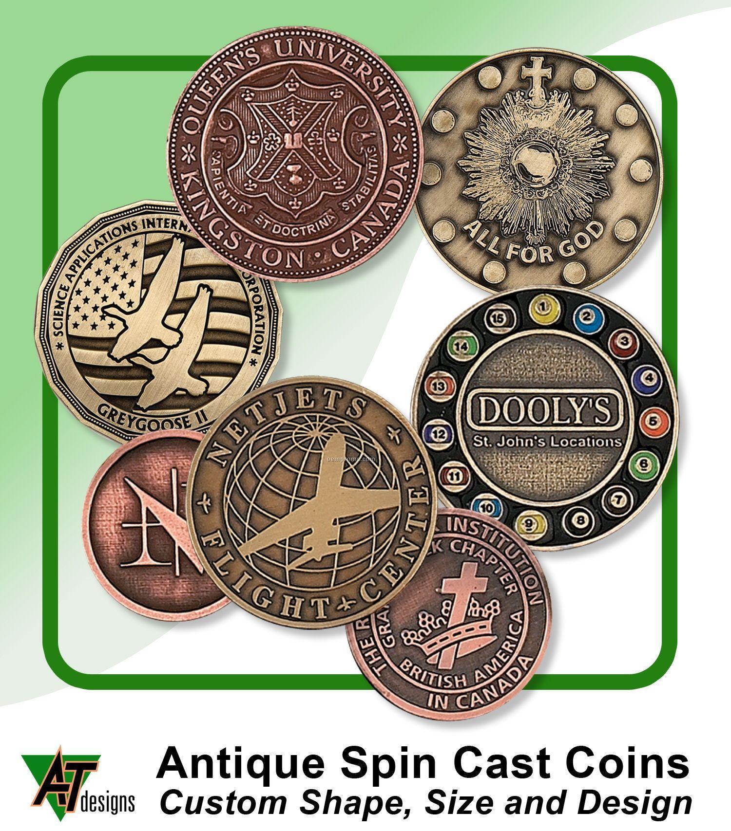 """Antique Zinc Coin (1-1/2"""")"""