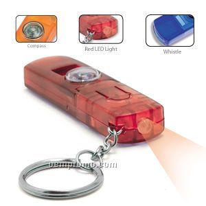Compass Keylite W/ Red LED Light & Whistle