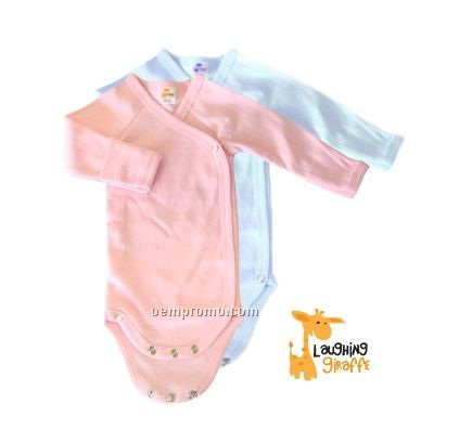 Pastel Preemie Long Sleeve Cotton Side Snap Onesie With Mittens