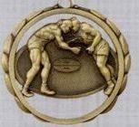 """2 3/8"""" Stock Sculptured Medal - Wrestling"""